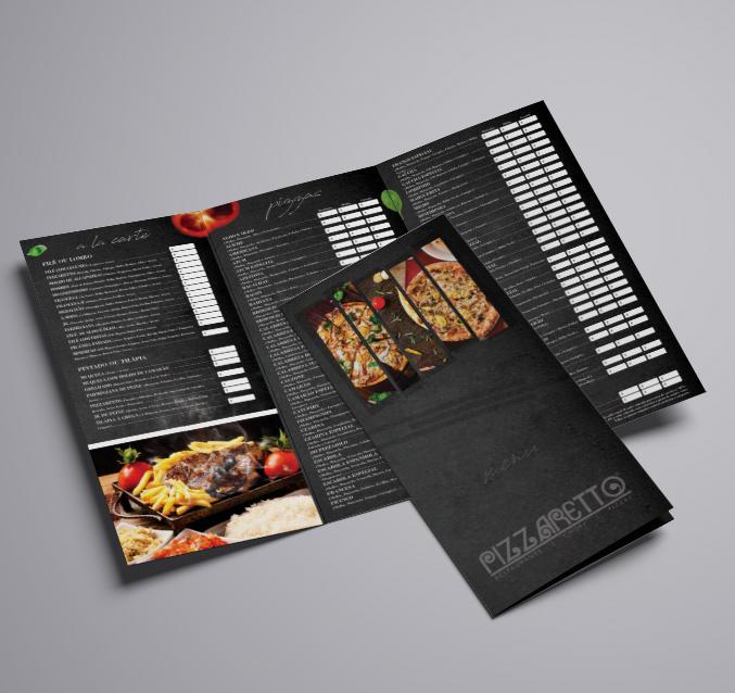 """Cardápio com 3 dobras preto aberto com outro cardápio sobreposto com duas imagens de comida e embaixo escrito """"pizaretto"""" num fundo todo cinza"""