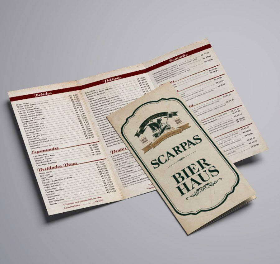 """Cardápio com 3 dobras bege com letras pretas e linha vermelha, com outro cardápio sobreposto, com uma logo grande escrita """"Scarpas Bier Haus"""" em verde"""