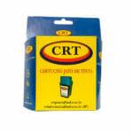 """Caixa com suporte para gôndola personalizada da marca CRT, a embalagem é predominantemente azul escuro, a parte da frente é amarela com o logotipo da CRT e logo abaixo escrito """"cartucho jato de tinta"""" e embaixo tem a foto de um cartucho e abaixo das fotos tem dois emails de contato."""