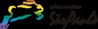 Logotipo da Gráfica e Editora São Paulo, é um coelho minimalista com as cores do arco-íris em degradê, seguido pelo nome